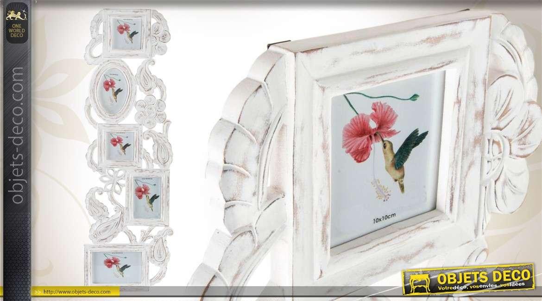 Cadre photos en p le m le blanc vieilli de style romantique - Pele mele style industriel ...