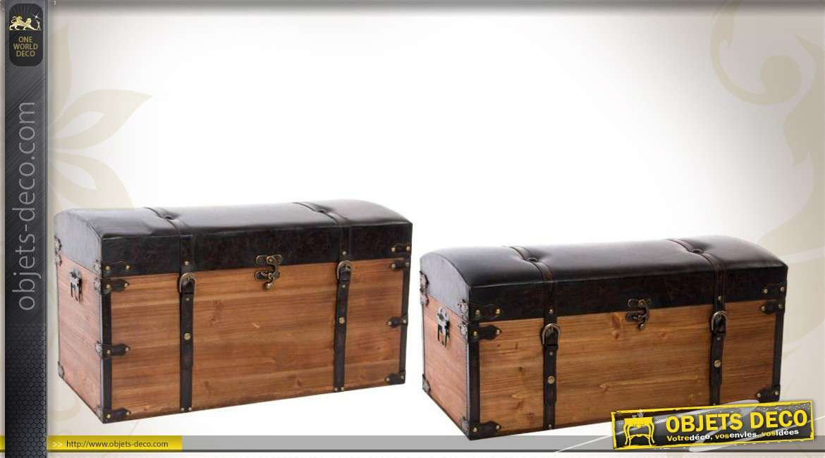 s rie de 2 malles en bois et similicuir de style vintage. Black Bedroom Furniture Sets. Home Design Ideas