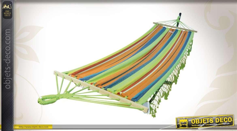 Hamac multicolore à rayures avec franges