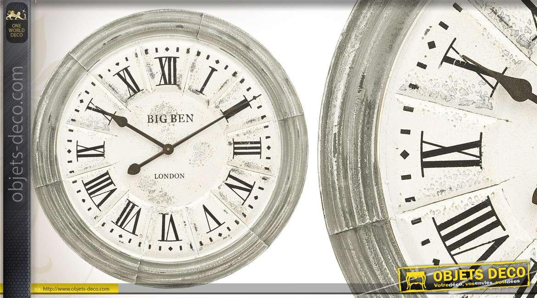 horloge murale vieillie 60 cm. Black Bedroom Furniture Sets. Home Design Ideas
