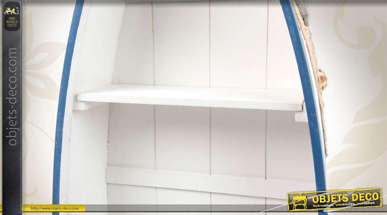 S rie de 5 tag res en bois en forme de barques d co marine for Objet deco pour etagere