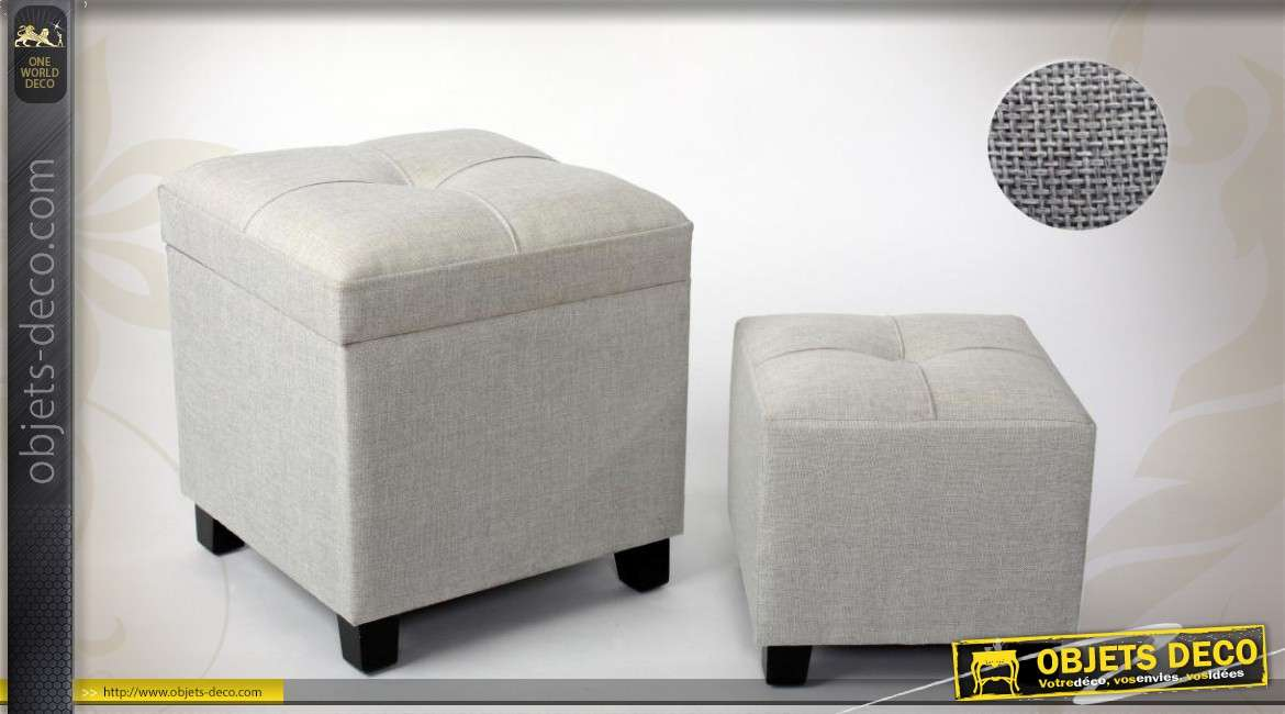duo de poufs repose pieds gris en tissu. Black Bedroom Furniture Sets. Home Design Ideas
