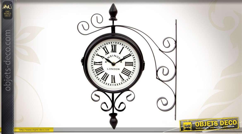 Horloge de gare avec potence de style vintage - Horloge murale style gare ...