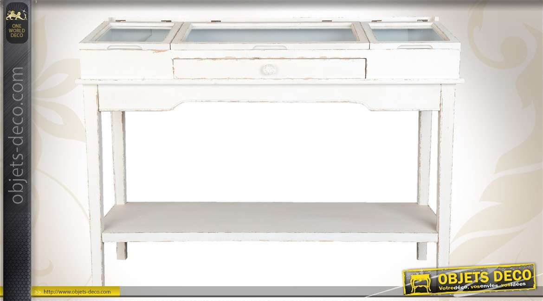 Console vitrine murale en bois patin e blanc vieilli avec tiroir - Console murale avec tiroir ...