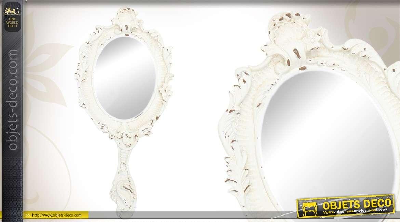 Grand miroir main ornement et patin blanc vieilli for Miroir blanc vieilli