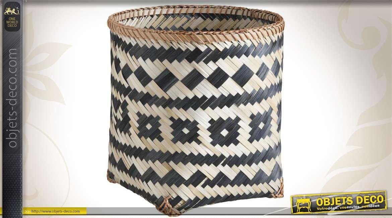 Trio de corbeilles décoratives de rangement en bambou teinté