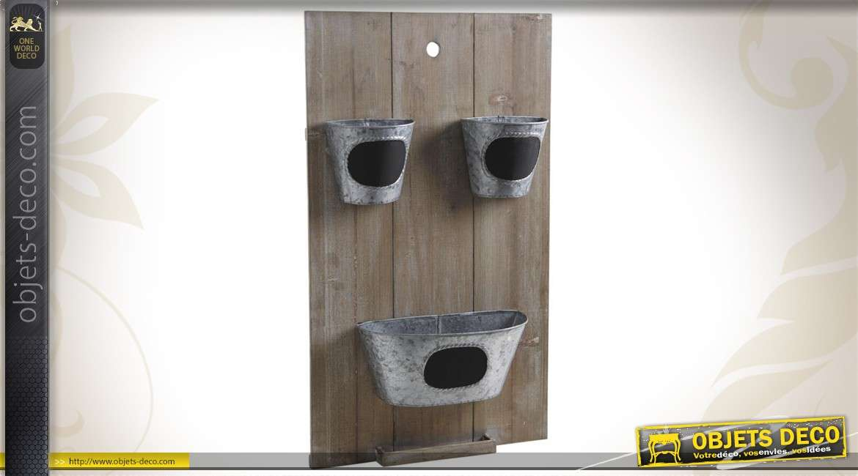 Ensemble de 3 cache-pots sur cadre mural en bois