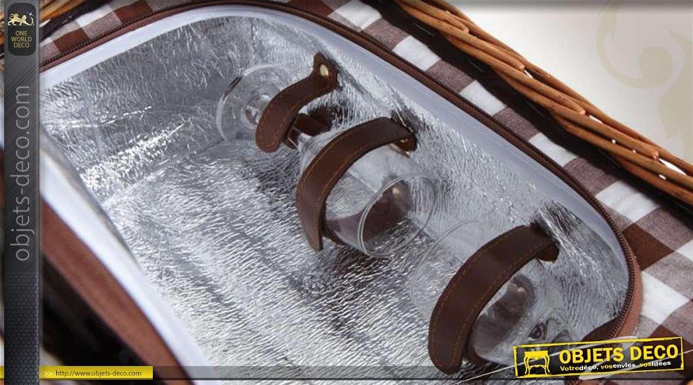 Panier de pique-nique 2 couverts en osier teinté