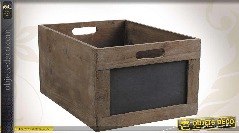 Caisse de rangement en bois vieilli avec tableau noir