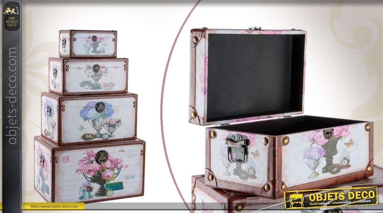 s rie de 4 coffres de rangement en bois avec d corations florales. Black Bedroom Furniture Sets. Home Design Ideas