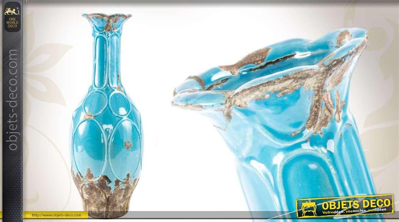 Vase En C Ramique Coloris Bleu Vieilli