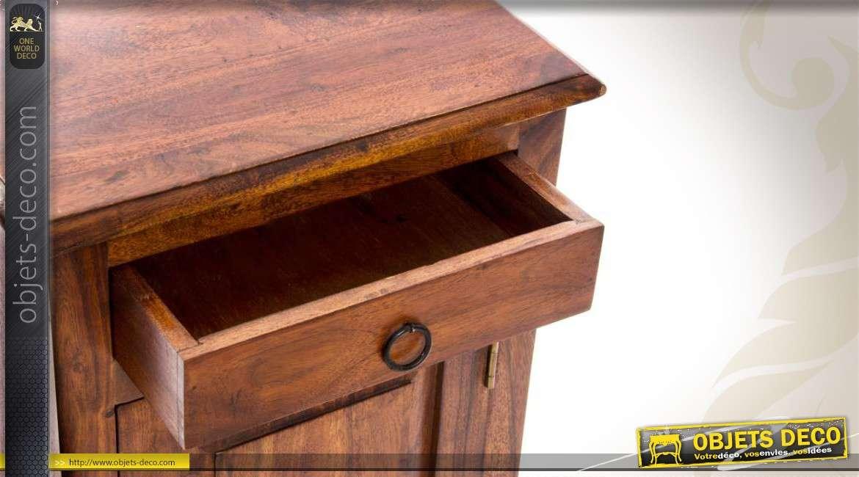 table de chevet en bois de shesham avec porte et tiroir. Black Bedroom Furniture Sets. Home Design Ideas