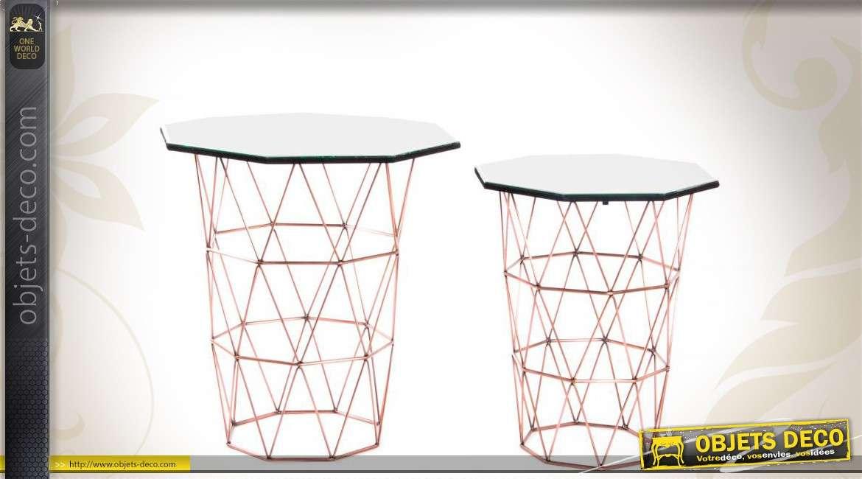 S rie de 2 sellettes design et d co en m tal et en verre - Objets design et deco tendanceidees decouvrir ...