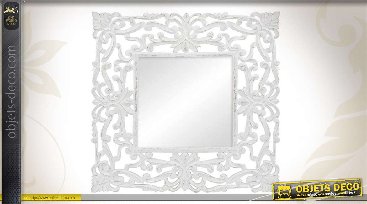 miroir romantique bois sculpt patine blanche vieillie. Black Bedroom Furniture Sets. Home Design Ideas