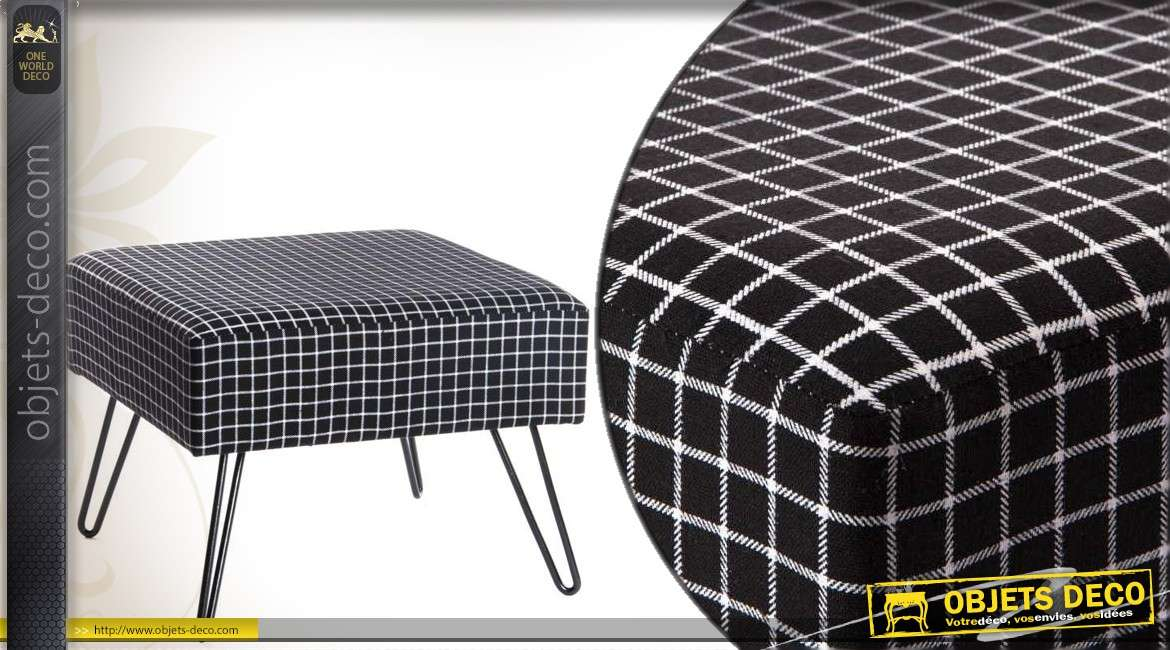 pouf carr de style contemporain en m tal et en tissu coloris noir et blanc. Black Bedroom Furniture Sets. Home Design Ideas