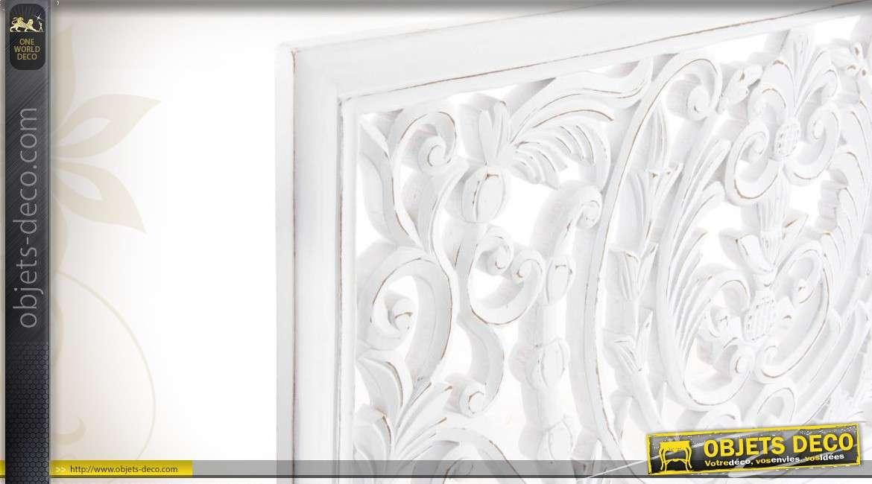 D coration murale en bois orn e d 39 entrelacs floraux en for Decoration murale blanc