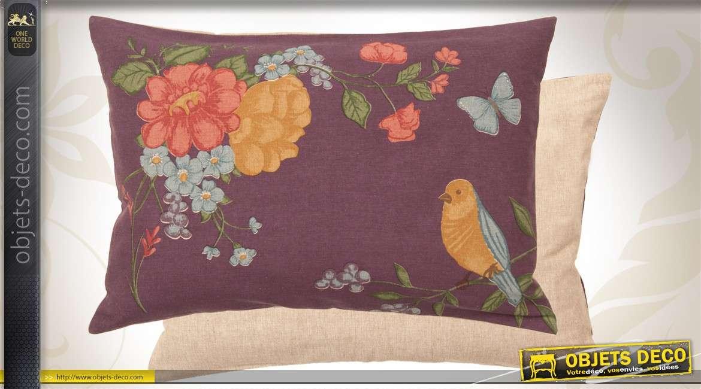 coussin de d coration coloris aubergine motifs fleurs et oiseau. Black Bedroom Furniture Sets. Home Design Ideas