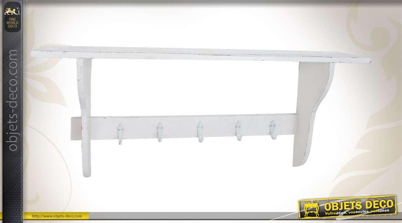 porte manteaux mural en bois aves tag re coloris blanc. Black Bedroom Furniture Sets. Home Design Ideas