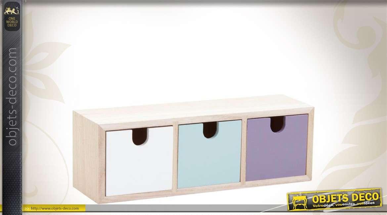Mini meuble de rangement en bois avec casiers colorés
