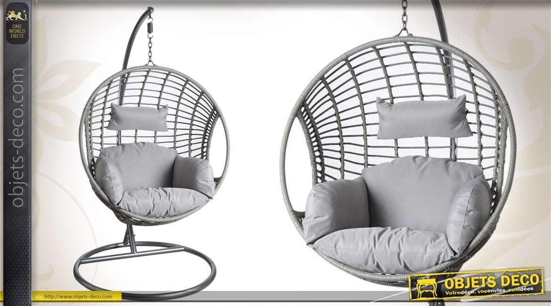 Balancelle de forme ronde avec coussins imperméabilisés coloris gris