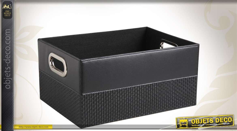 corbeille d co de rangement en similicuir coloris noir. Black Bedroom Furniture Sets. Home Design Ideas