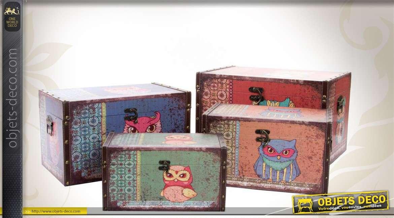 s rie de 4 coffres de rangement d coratifs en bois et. Black Bedroom Furniture Sets. Home Design Ideas