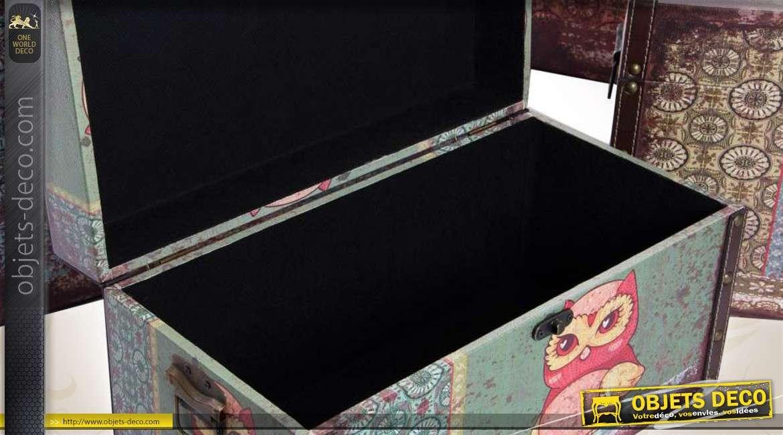 s rie de 4 coffres de rangement d coratifs en bois et toile motifs hiboux. Black Bedroom Furniture Sets. Home Design Ideas