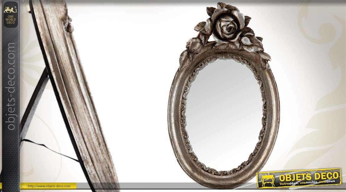 miroir de table d coratif style ancien argent. Black Bedroom Furniture Sets. Home Design Ideas