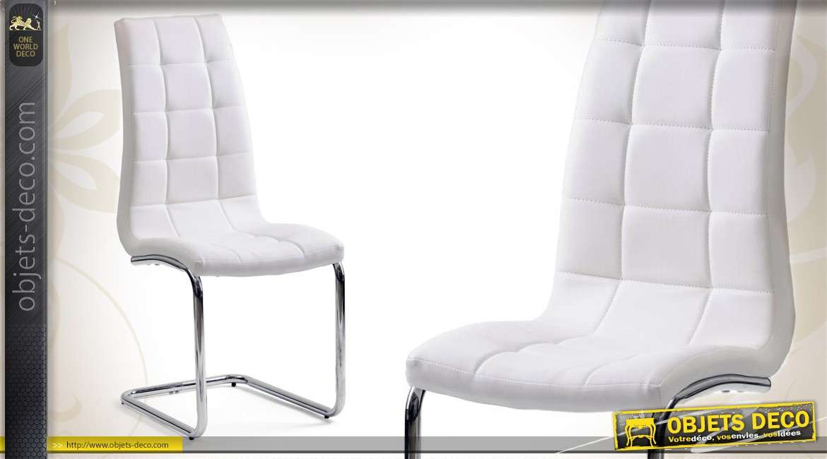 Chaise Design Blanche : Chaise design blanche et chrome de style contemporain
