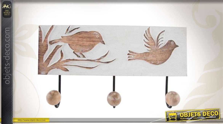porte manteaux mural en bois 3 pat res. Black Bedroom Furniture Sets. Home Design Ideas
