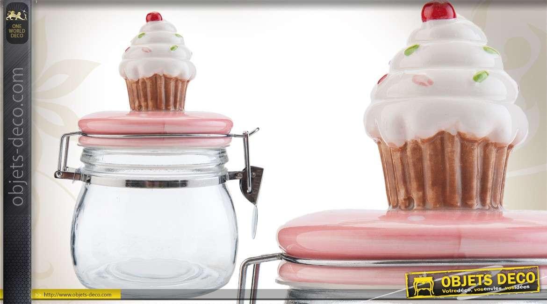bocal d co en verre avec miniature de cupcake. Black Bedroom Furniture Sets. Home Design Ideas
