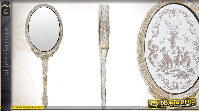 miroir ovale de style baroque argent fini vieilli. Black Bedroom Furniture Sets. Home Design Ideas
