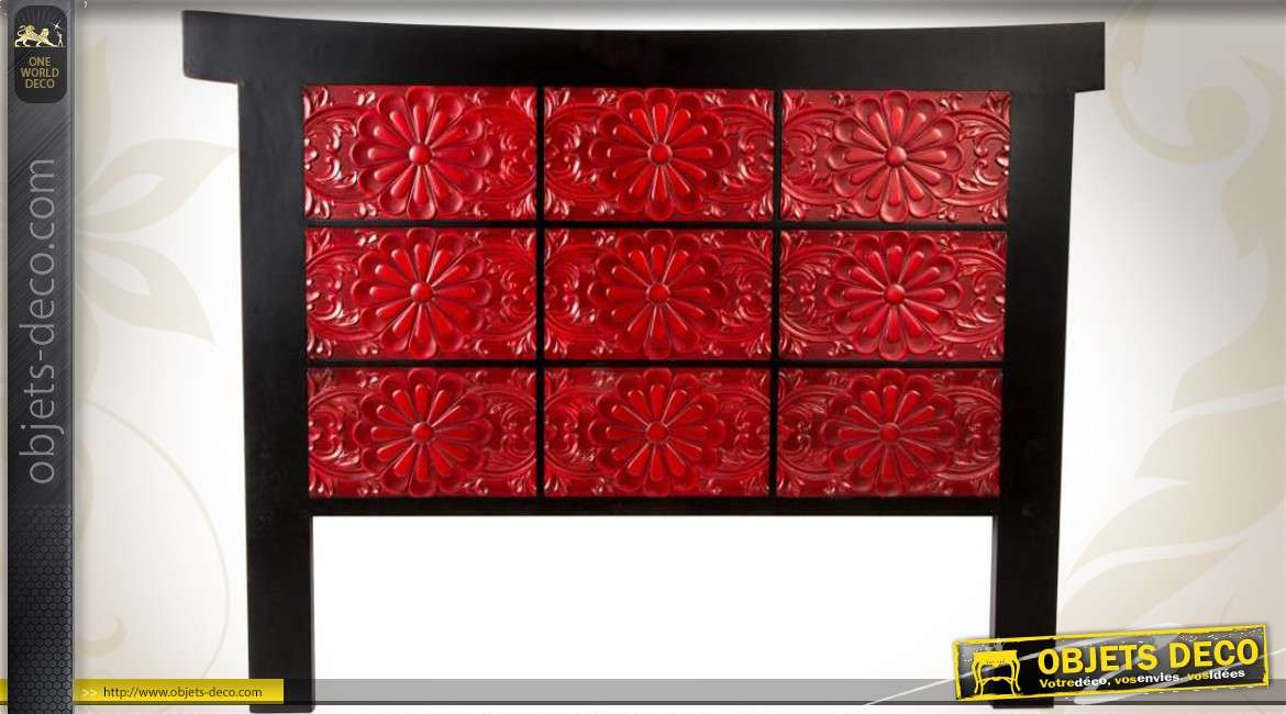 t te de lit rouge et noir de style oriental en 160. Black Bedroom Furniture Sets. Home Design Ideas