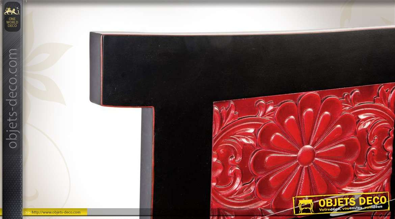 t te de lit rouge et noir de style oriental en 160. Black Bedroom Furniture Sets. Home Design Ideas