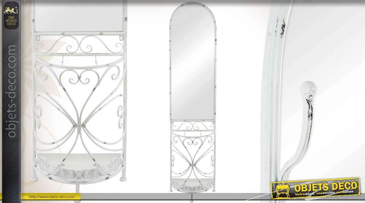 miroir mural style fer forg oiseaux et plantes blanc vieilli. Black Bedroom Furniture Sets. Home Design Ideas