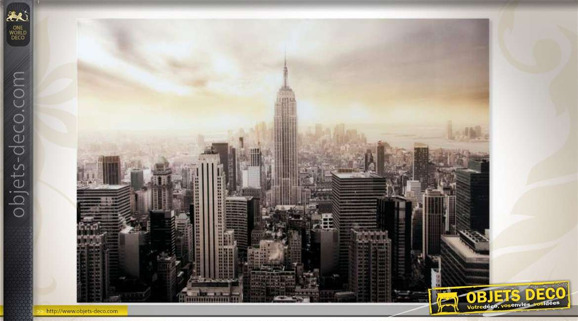 tableau sous verre tremp empire state building de new york. Black Bedroom Furniture Sets. Home Design Ideas