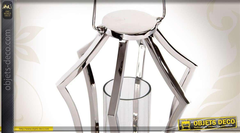 Lanterne de table en m tal chrom style moderne - Lanterne moderne ...