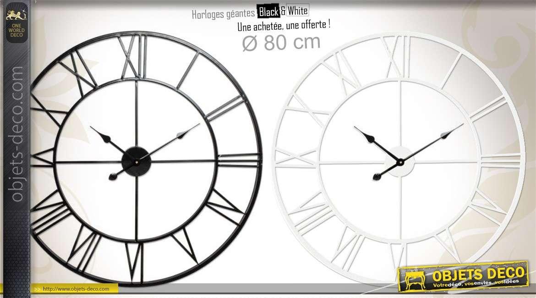 Duo d'horloges géantes en métal Black & White Ø 80 cm