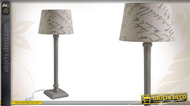 Lampe de table en bois avec abat-jour imprimé Ø 25 cm