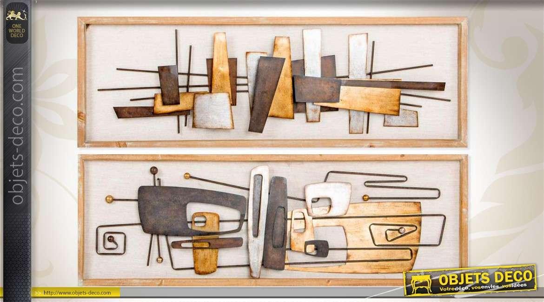 duo de grands tableau en bois et m tal de style abstrait 120 cm. Black Bedroom Furniture Sets. Home Design Ideas