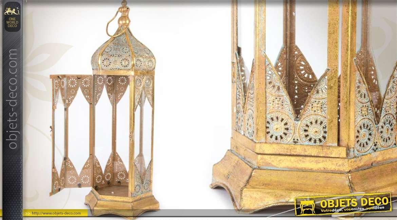 grande lanterne hexagonale dor e de style oriental 66 cm. Black Bedroom Furniture Sets. Home Design Ideas