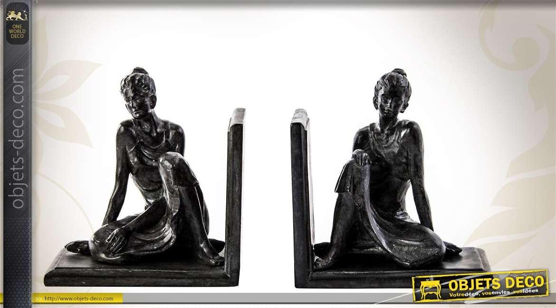 serre livres figurines de femmes assises imitation bronze. Black Bedroom Furniture Sets. Home Design Ideas
