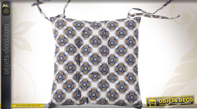 Coussin De Chaise 40 X En Coton Fleurs Stylisees Bleues
