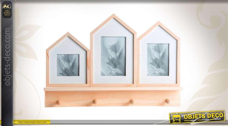 pote manteaux mural en bois avec cadre photos finition bois. Black Bedroom Furniture Sets. Home Design Ideas