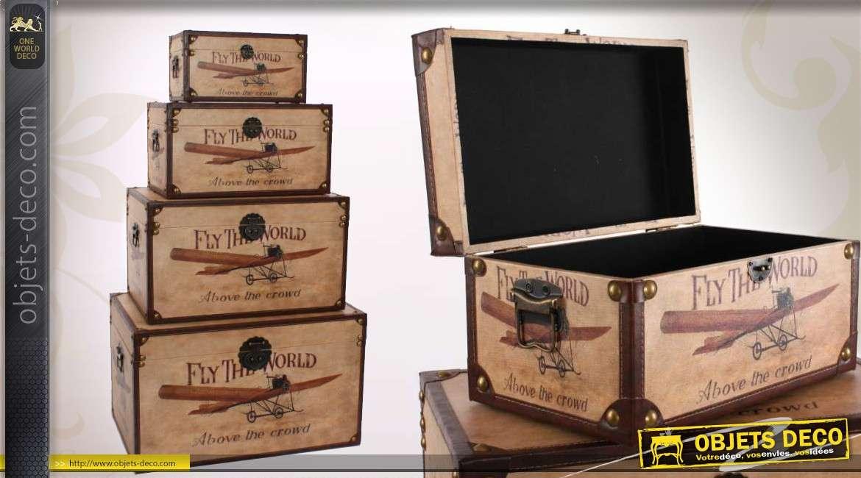 s rie de 4 coffres de rangement en bois avec d co vintage. Black Bedroom Furniture Sets. Home Design Ideas