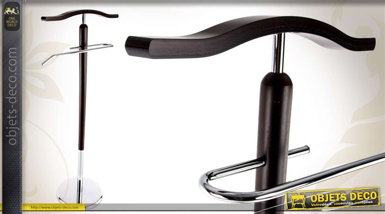 valet de nuit en bois et m tal chrom design contemporain. Black Bedroom Furniture Sets. Home Design Ideas