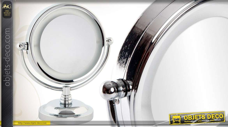 Miroir cosm tique de table en m tal chrom avec lumi re led for Miroir avec lumiere