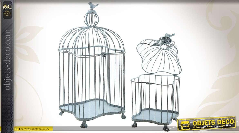 Série de 2 cages à oiseaux en métal coloris bleu antique
