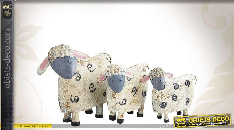 Série de 3 moutons décoratifs patinés en métal