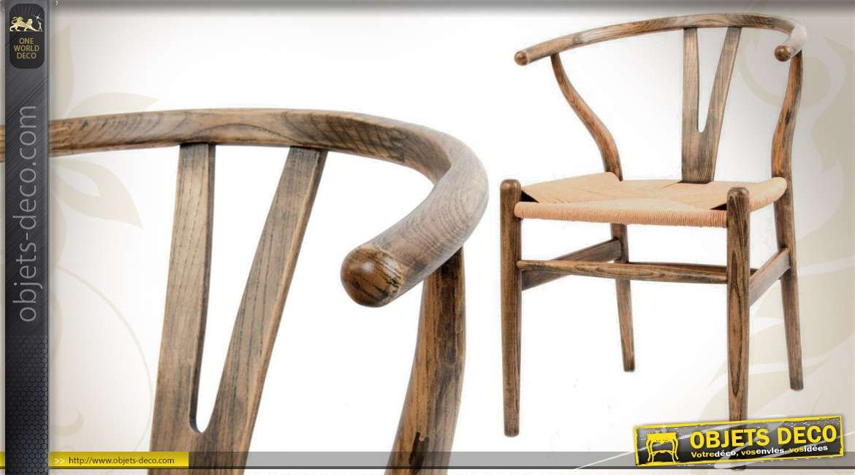 Chaise De Style Rustique En Bois Et Osier